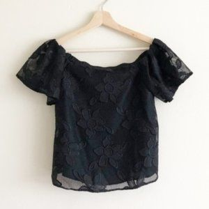 Miss Selfridge Floral Off-Shoulder Crop Top Sz 2